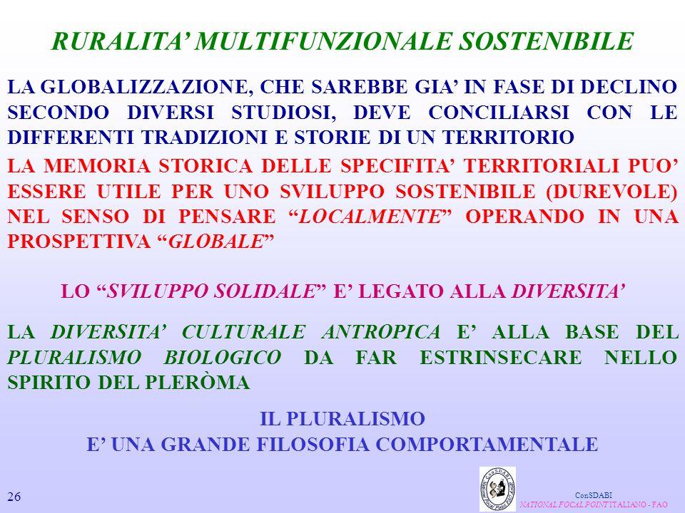 RURALITA' MULTIFUNZIONALE SOSTENIBILE