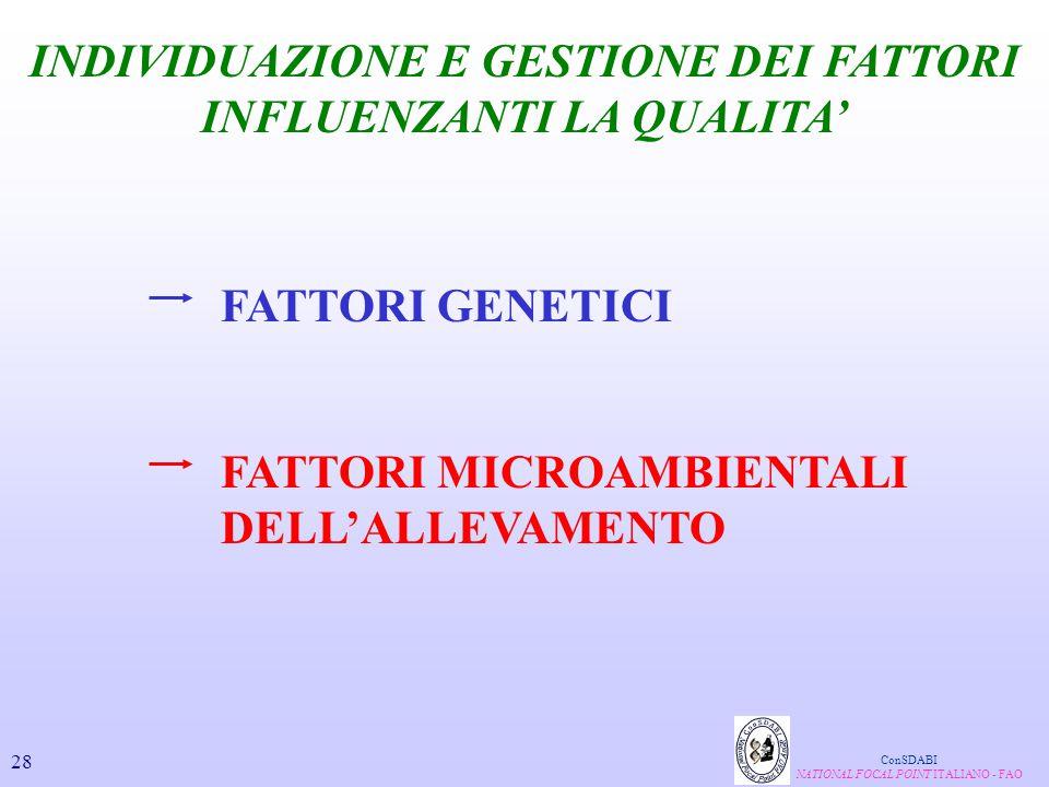INDIVIDUAZIONE E GESTIONE DEI FATTORI INFLUENZANTI LA QUALITA'