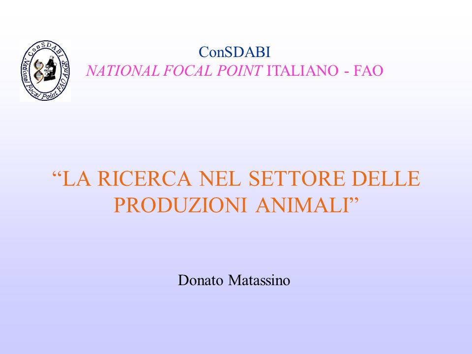 LA RICERCA NEL SETTORE DELLE PRODUZIONI ANIMALI