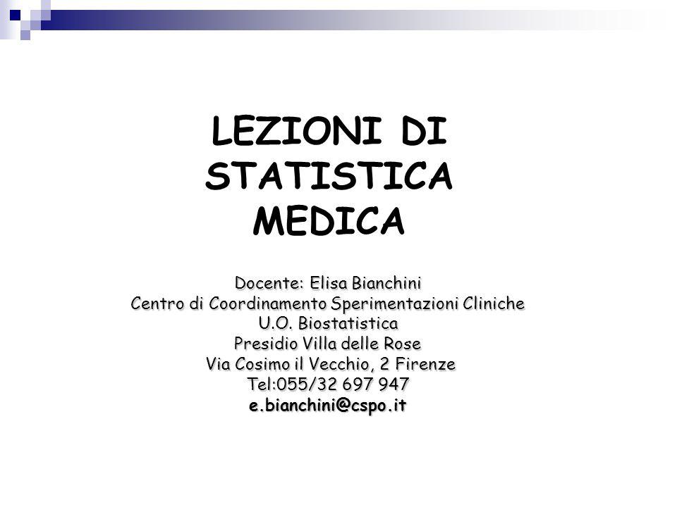 LEZIONI DI STATISTICA MEDICA