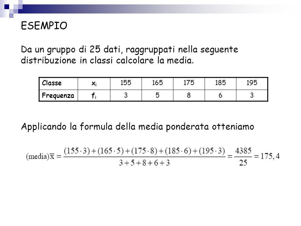 ESEMPIO Da un gruppo di 25 dati, raggruppati nella seguente distribuzione in classi calcolare la media.