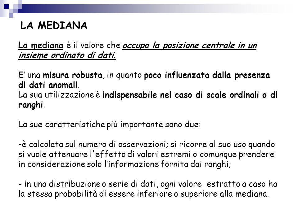 LA MEDIANA La mediana è il valore che occupa la posizione centrale in un insieme ordinato di dati.