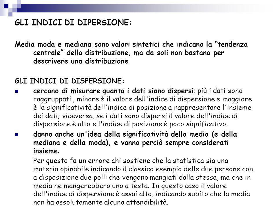 GLI INDICI DI DIPERSIONE: