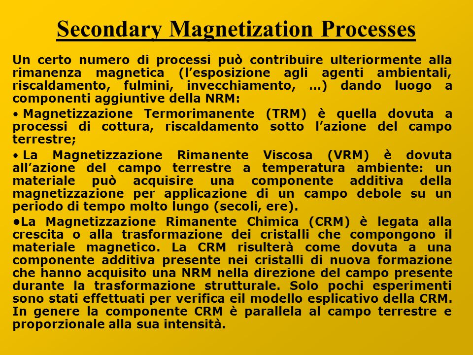 Secondary Magnetization Processes