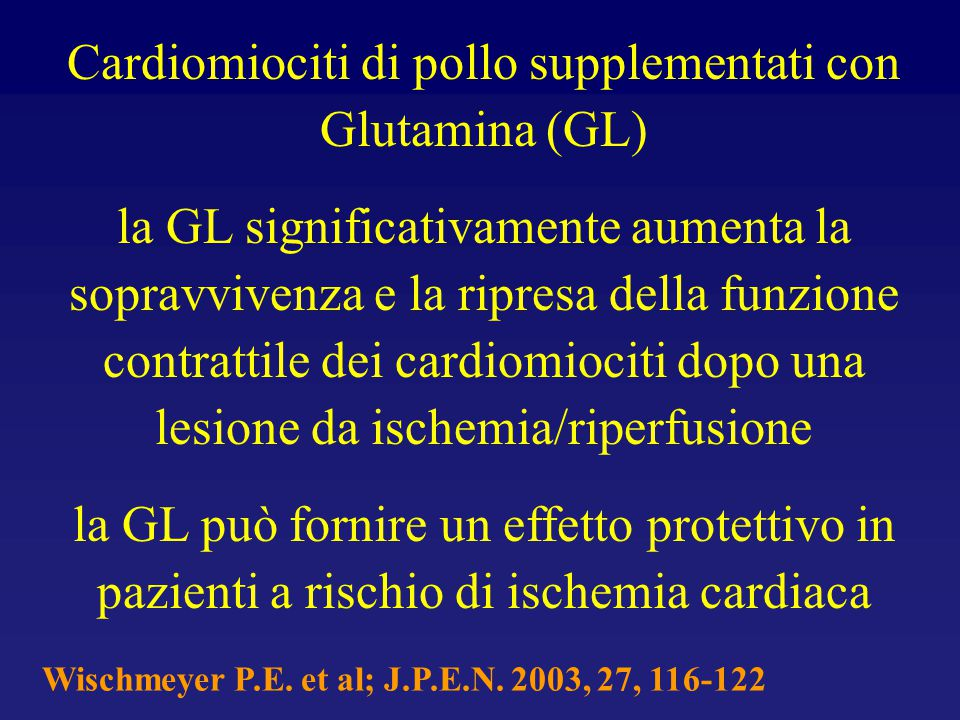 Cardiomiociti di pollo supplementati con Glutamina (GL)