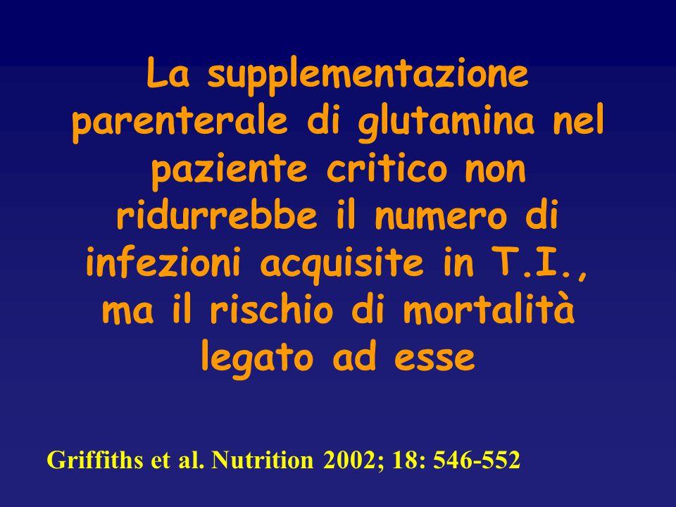 La supplementazione parenterale di glutamina nel paziente critico non ridurrebbe il numero di infezioni acquisite in T.I., ma il rischio di mortalità legato ad esse