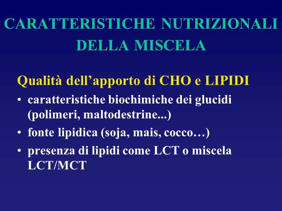 CARATTERISTICHE NUTRIZIONALI DELLA MISCELA