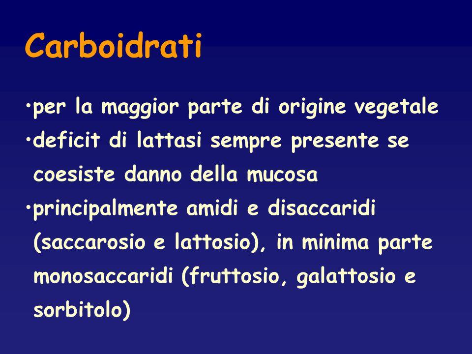 Carboidrati per la maggior parte di origine vegetale