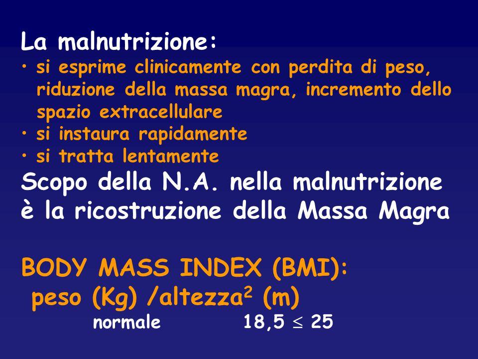 La malnutrizione: si esprime clinicamente con perdita di peso, riduzione della massa magra, incremento dello.
