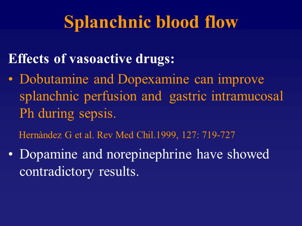 Splanchnic blood flow Effects of vasoactive drugs:
