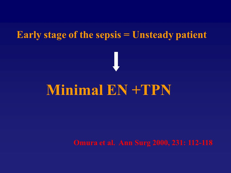 Early stage of the sepsis = Unsteady patient