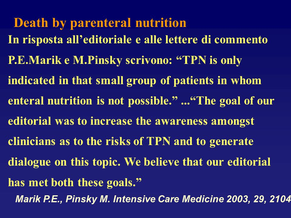 Death by parenteral nutrition