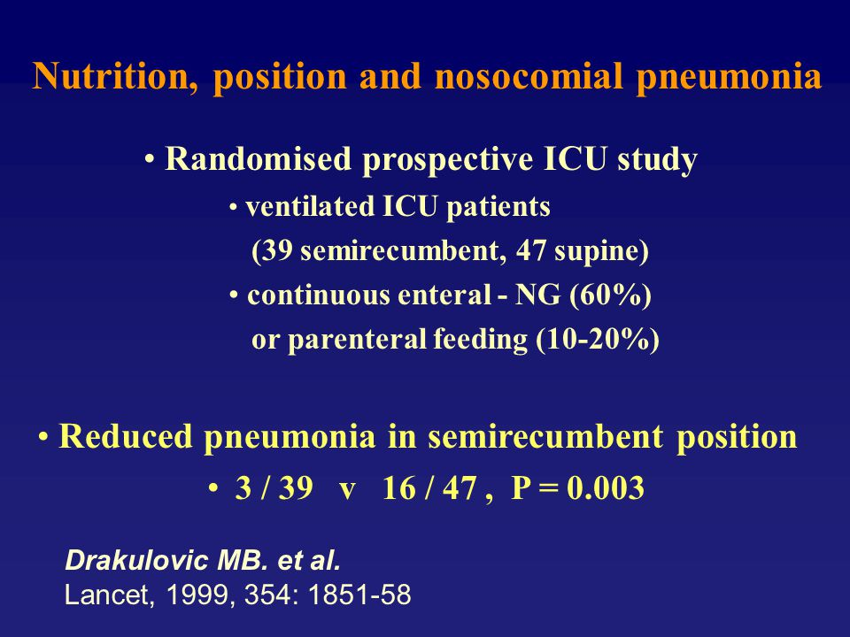 Nutrition, position and nosocomial pneumonia