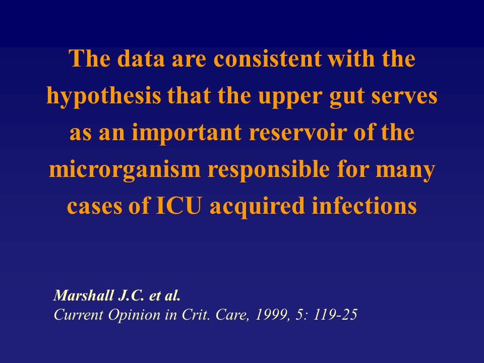 The data are consistent with the hypothesis that the upper gut serves as an important reservoir of the microrganism responsible for many cases of ICU acquired infections