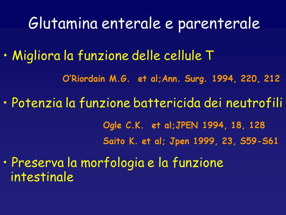 Glutamina enterale e parenterale