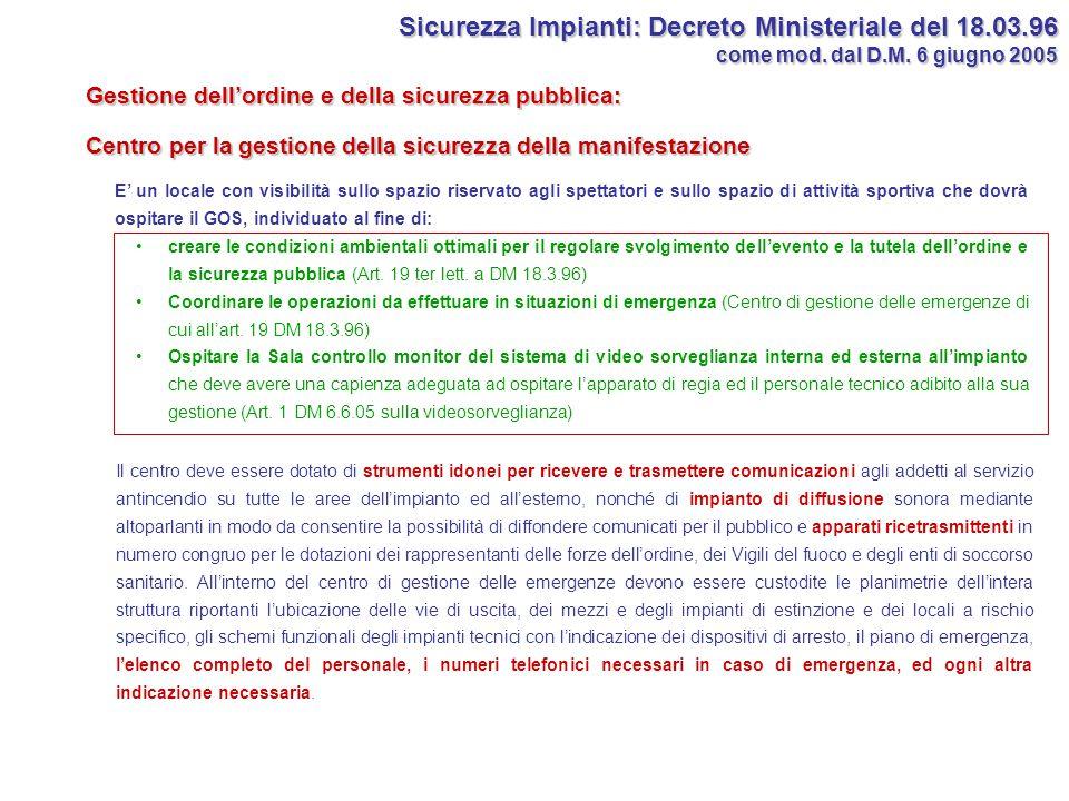 Sicurezza Impianti: Decreto Ministeriale del 18.03.96 come mod. dal D.M. 6 giugno 2005