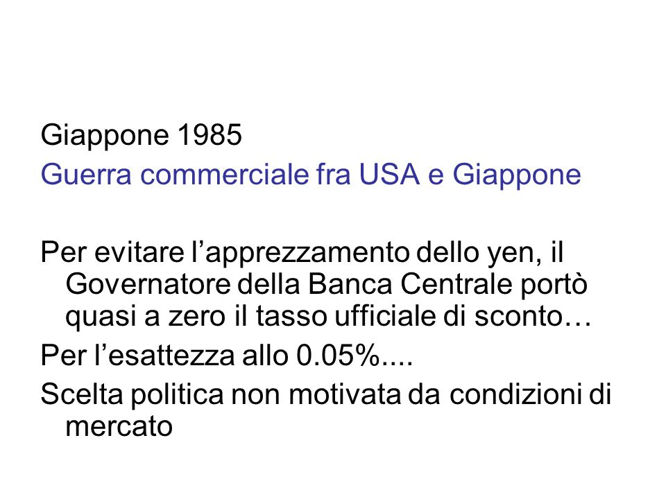 Giappone 1985 Guerra commerciale fra USA e Giappone.