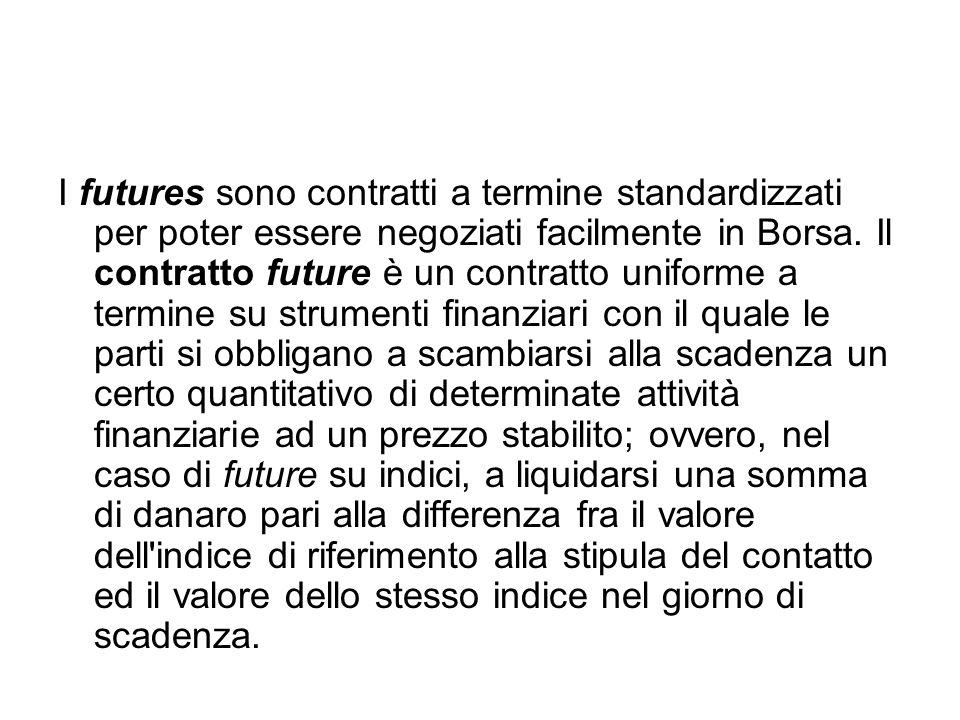 I futures sono contratti a termine standardizzati per poter essere negoziati facilmente in Borsa.