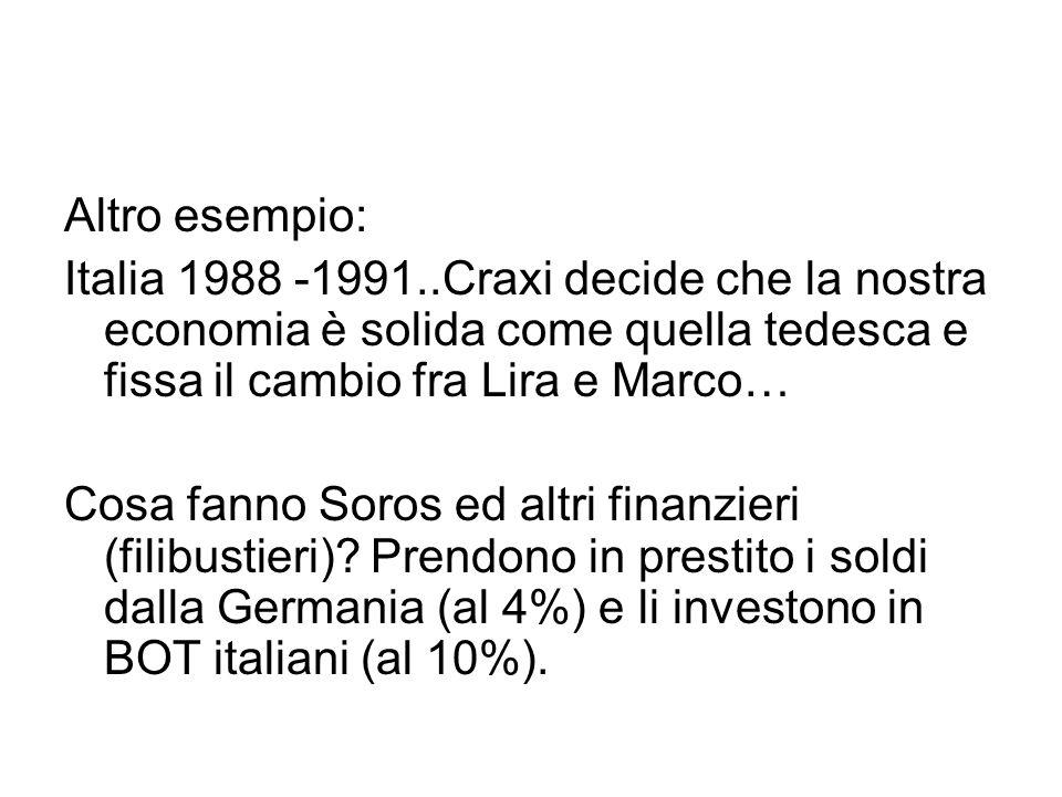 Altro esempio: Italia 1988 -1991..Craxi decide che la nostra economia è solida come quella tedesca e fissa il cambio fra Lira e Marco…