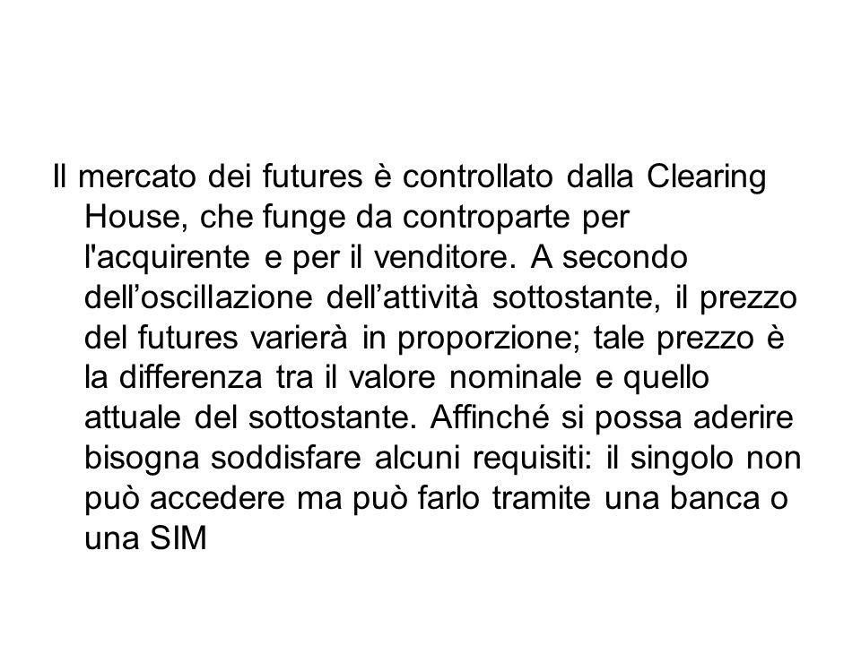 Il mercato dei futures è controllato dalla Clearing House, che funge da controparte per l acquirente e per il venditore.