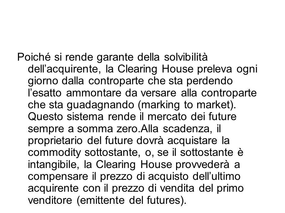 Poiché si rende garante della solvibilità dell'acquirente, la Clearing House preleva ogni giorno dalla controparte che sta perdendo l'esatto ammontare da versare alla controparte che sta guadagnando (marking to market).