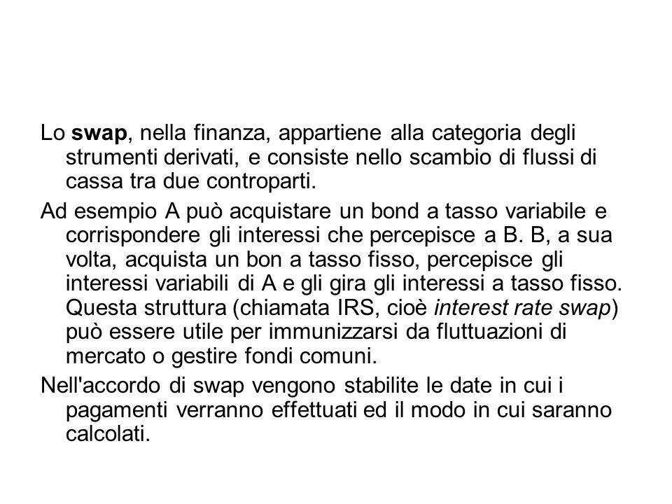 Lo swap, nella finanza, appartiene alla categoria degli strumenti derivati, e consiste nello scambio di flussi di cassa tra due controparti.