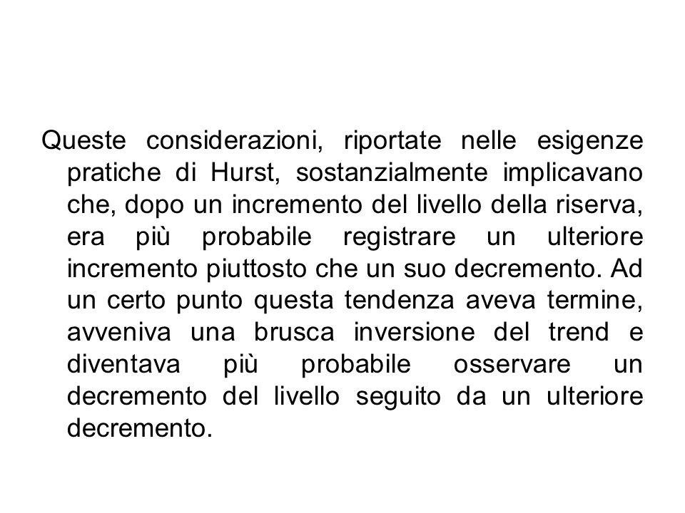 Queste considerazioni, riportate nelle esigenze pratiche di Hurst, sostanzialmente implicavano che, dopo un incremento del livello della riserva, era più probabile registrare un ulteriore incremento piuttosto che un suo decremento.