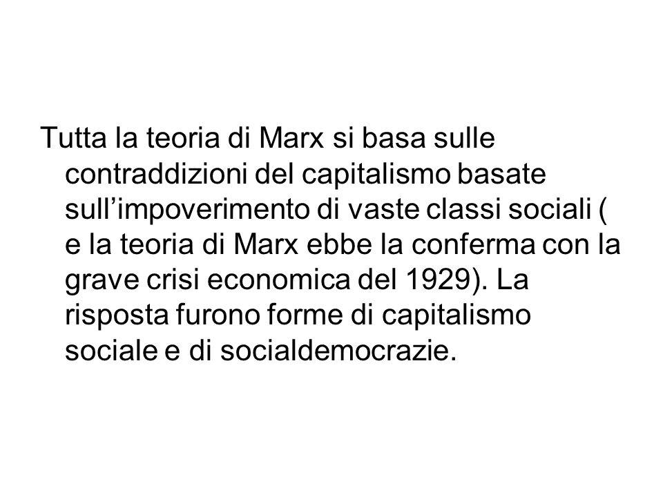 Tutta la teoria di Marx si basa sulle contraddizioni del capitalismo basate sull'impoverimento di vaste classi sociali ( e la teoria di Marx ebbe la conferma con la grave crisi economica del 1929).
