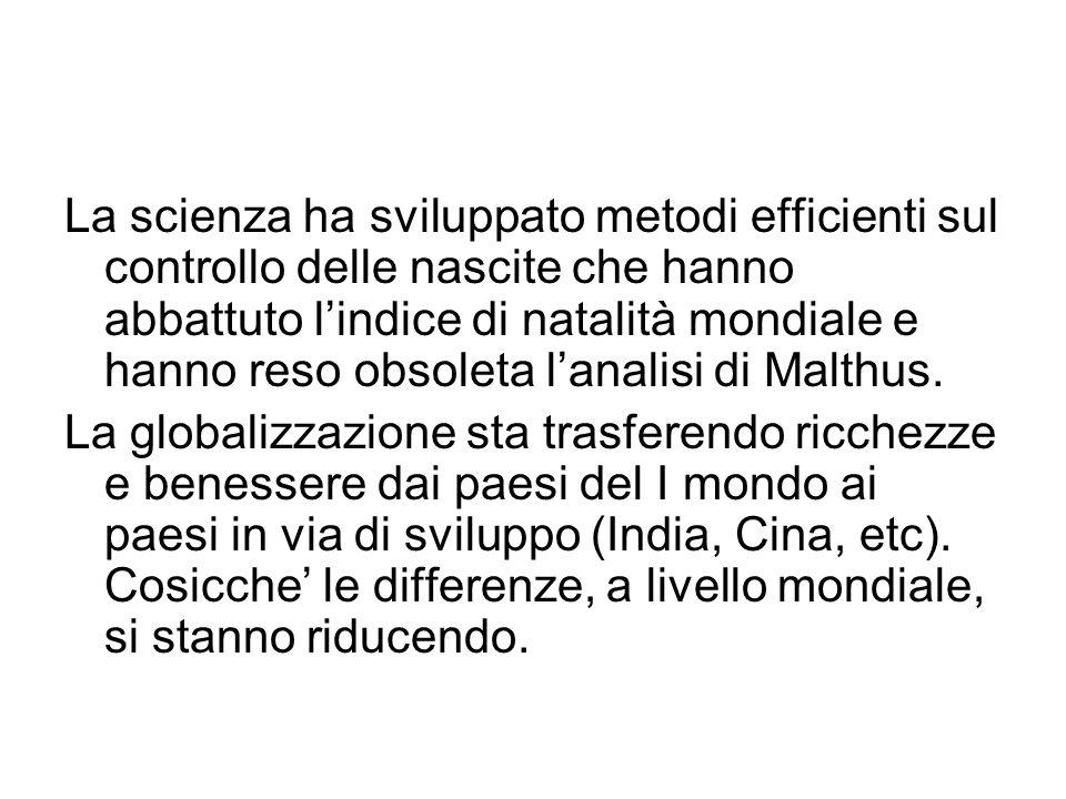 La scienza ha sviluppato metodi efficienti sul controllo delle nascite che hanno abbattuto l'indice di natalità mondiale e hanno reso obsoleta l'analisi di Malthus.