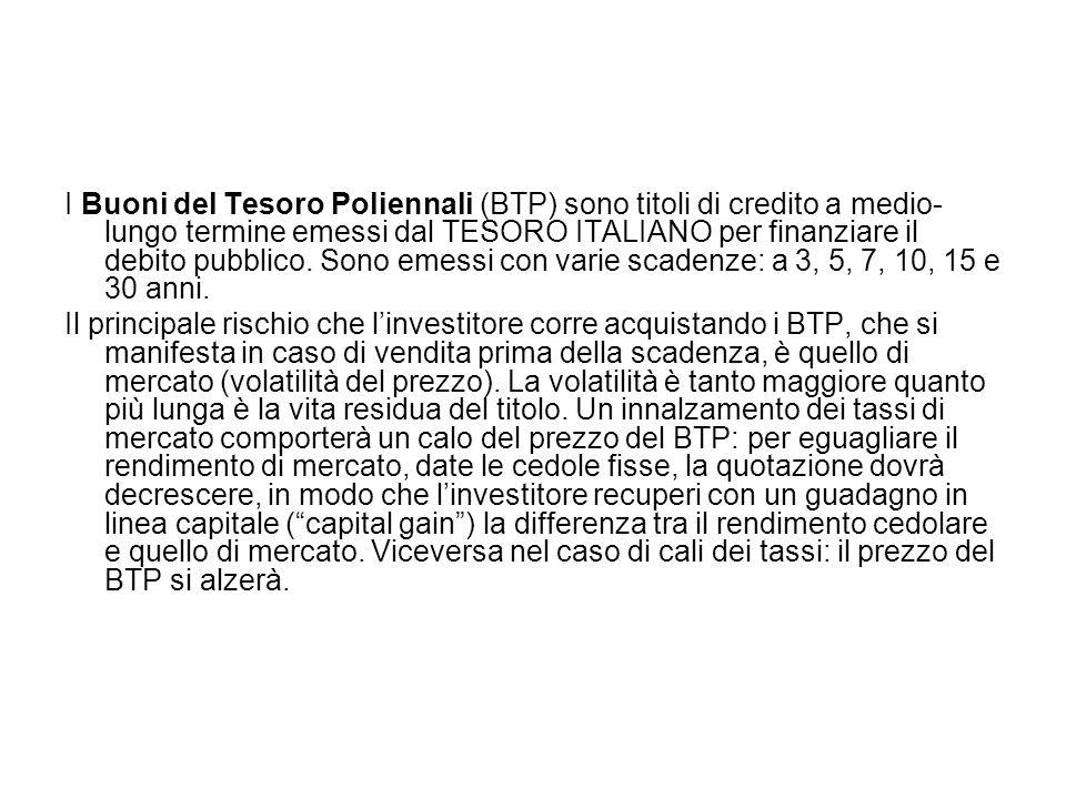 I Buoni del Tesoro Poliennali (BTP) sono titoli di credito a medio-lungo termine emessi dal TESORO ITALIANO per finanziare il debito pubblico. Sono emessi con varie scadenze: a 3, 5, 7, 10, 15 e 30 anni.