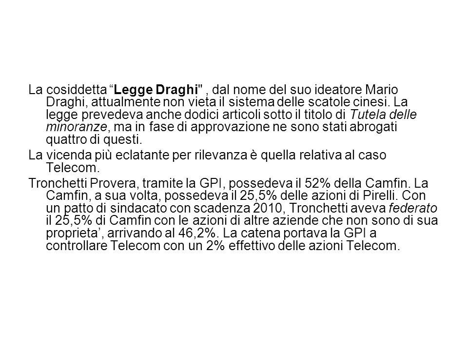 La cosiddetta Legge Draghi , dal nome del suo ideatore Mario Draghi, attualmente non vieta il sistema delle scatole cinesi. La legge prevedeva anche dodici articoli sotto il titolo di Tutela delle minoranze, ma in fase di approvazione ne sono stati abrogati quattro di questi.