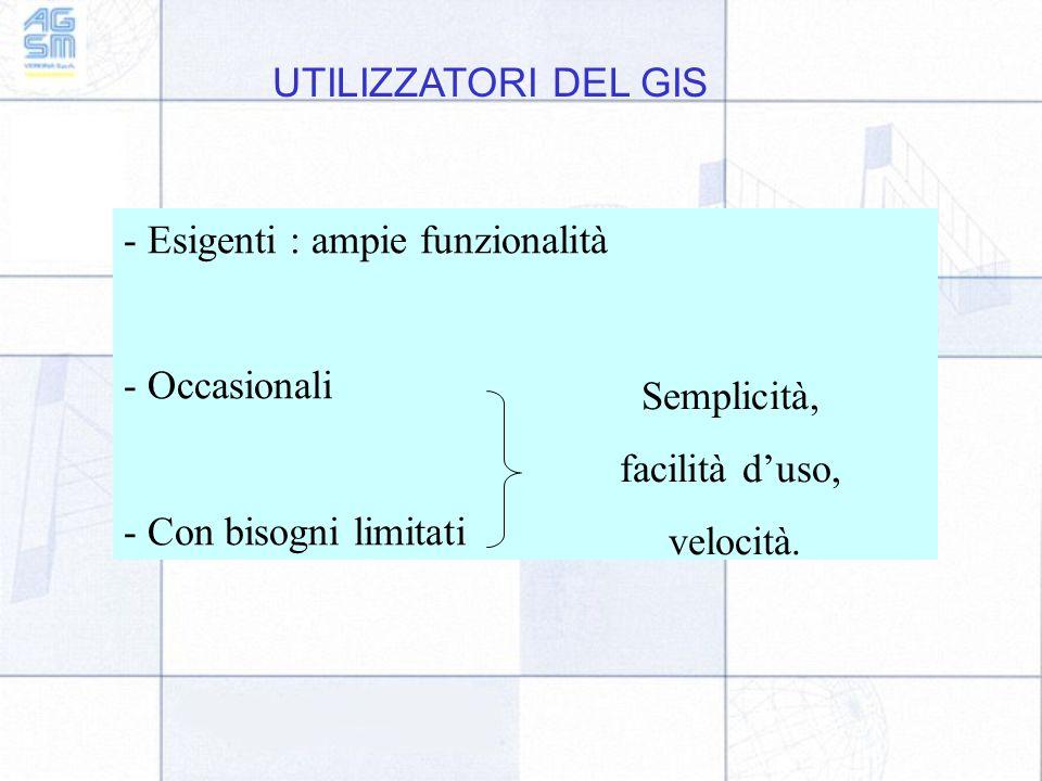UTILIZZATORI DEL GIS - Esigenti : ampie funzionalità. - Occasionali. - Con bisogni limitati. Semplicità,