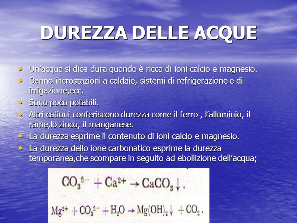 DUREZZA DELLE ACQUE Un'acqua si dice dura quando è ricca di ioni calcio e magnesio.