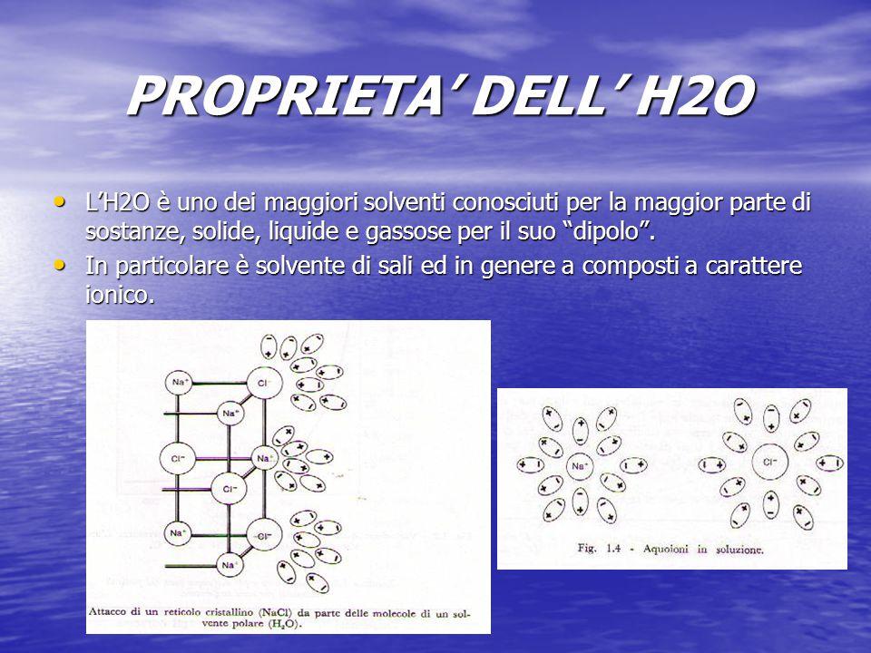 PROPRIETA' DELL' H2O L'H2O è uno dei maggiori solventi conosciuti per la maggior parte di sostanze, solide, liquide e gassose per il suo dipolo .
