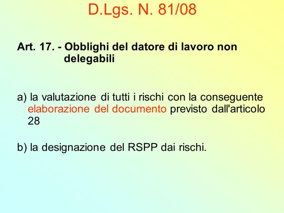 D.Lgs. N. 81/08 Art. 17. - Obblighi del datore di lavoro non delegabili.