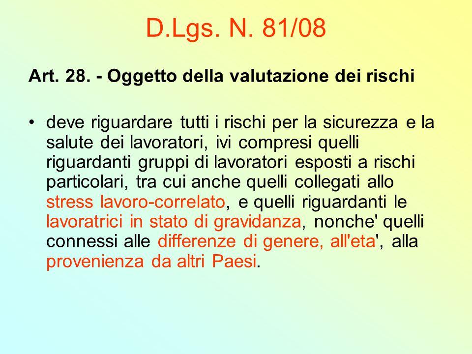 D.Lgs. N. 81/08 Art. 28. - Oggetto della valutazione dei rischi