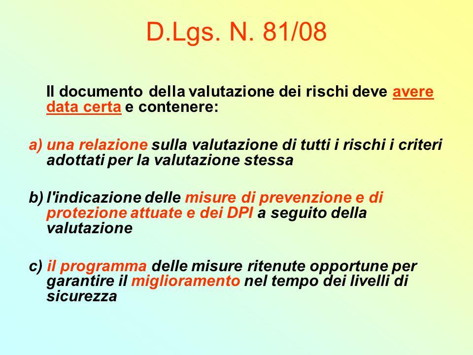 D.Lgs. N. 81/08 Il documento della valutazione dei rischi deve avere data certa e contenere: