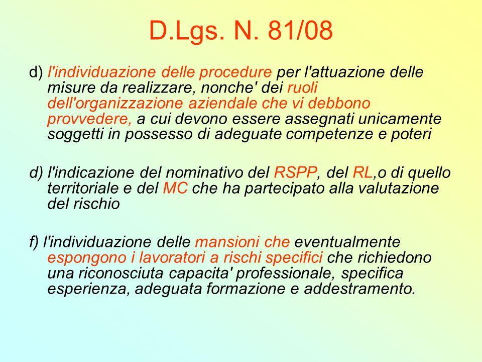 D.Lgs. N. 81/08