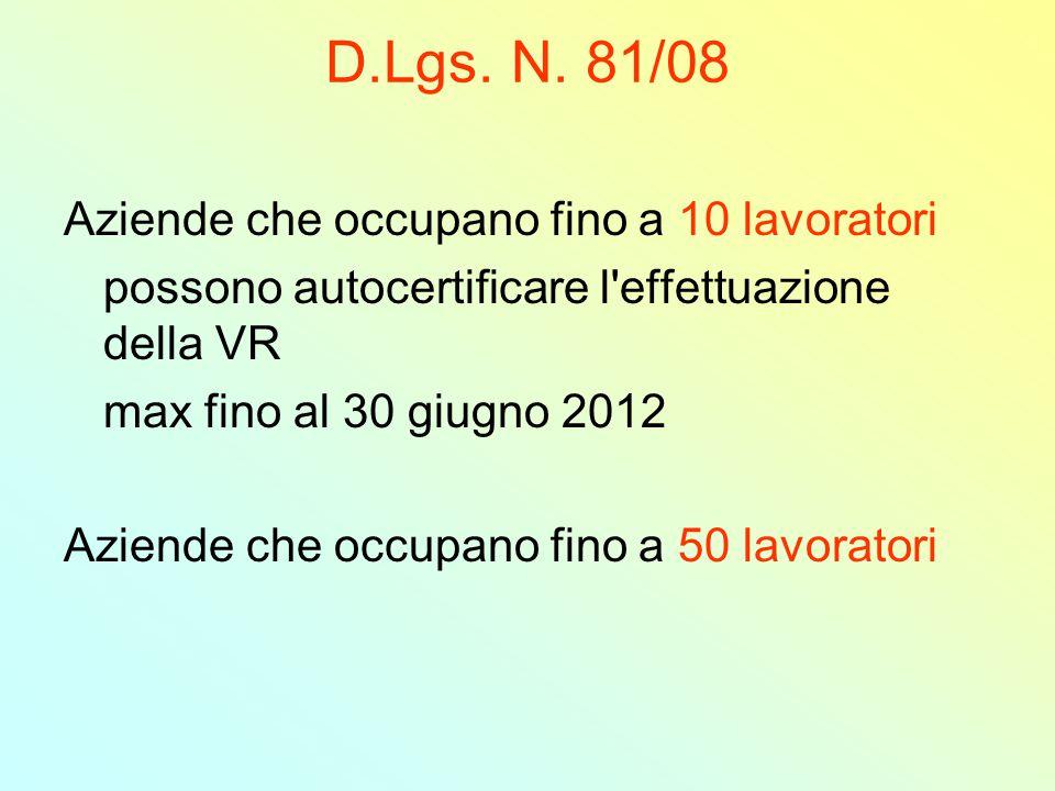 D.Lgs. N. 81/08 Aziende che occupano fino a 10 lavoratori