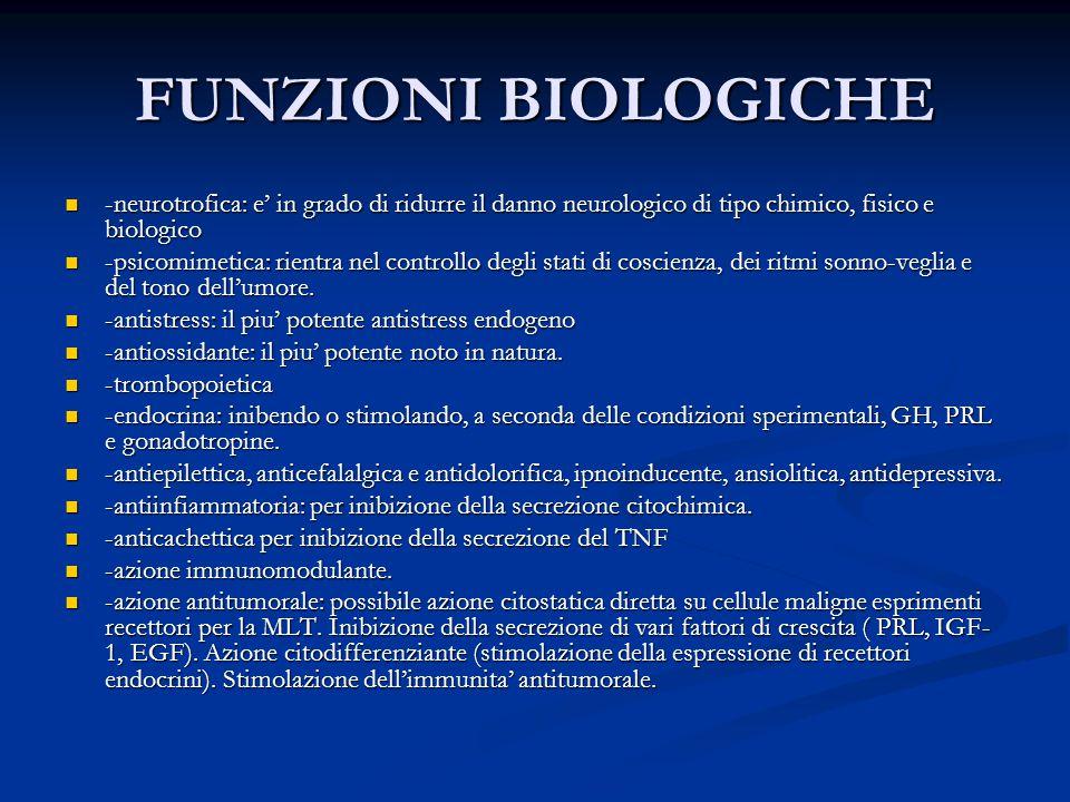 FUNZIONI BIOLOGICHE -neurotrofica: e' in grado di ridurre il danno neurologico di tipo chimico, fisico e biologico.