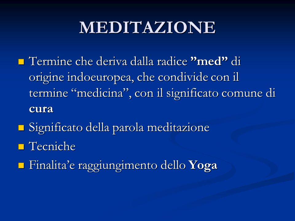 MEDITAZIONE Termine che deriva dalla radice med di origine indoeuropea, che condivide con il termine medicina , con il significato comune di cura.