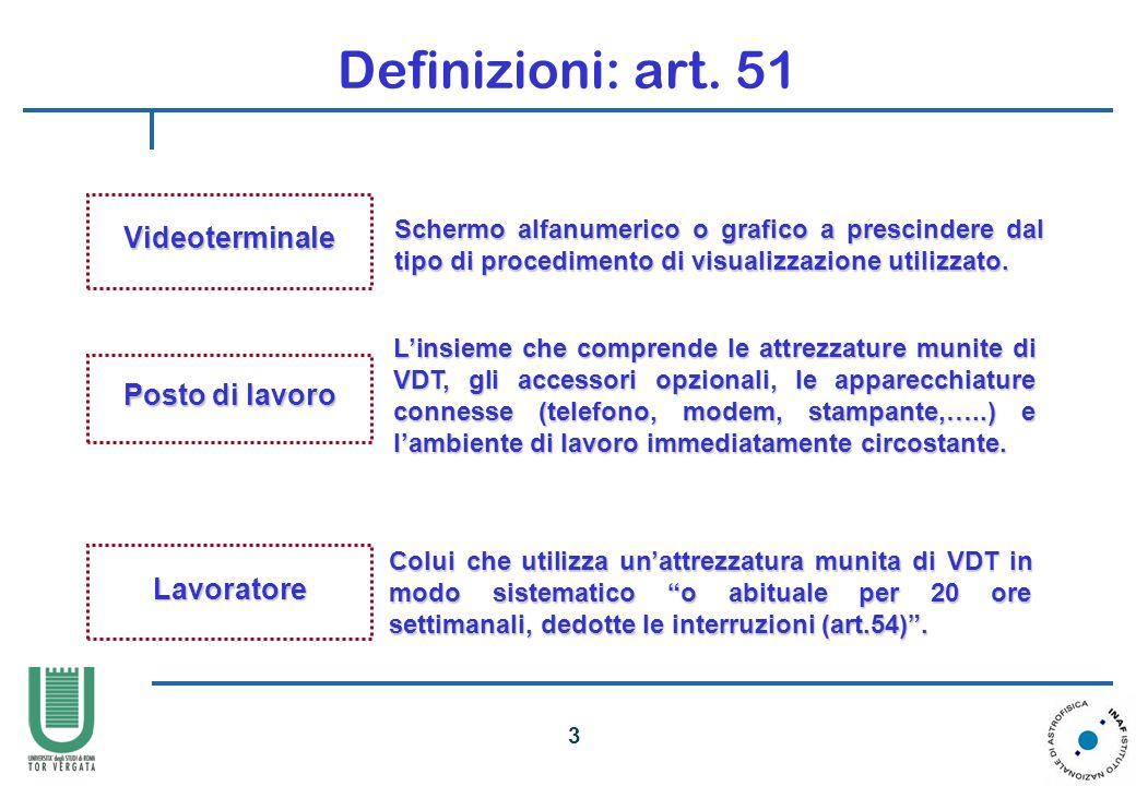 Definizioni: art. 51 Videoterminale Posto di lavoro Lavoratore