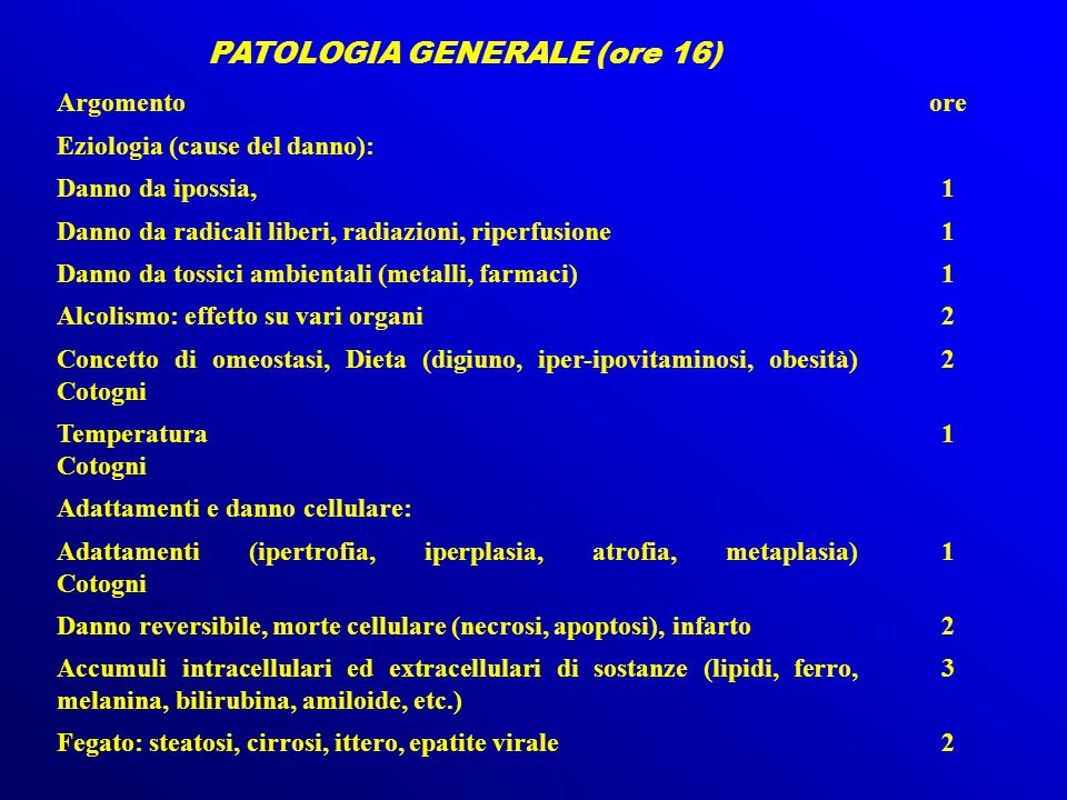 PATOLOGIA GENERALE (ore 16)