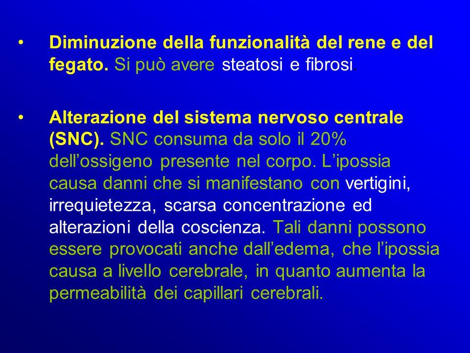 Diminuzione della funzionalità del rene e del fegato