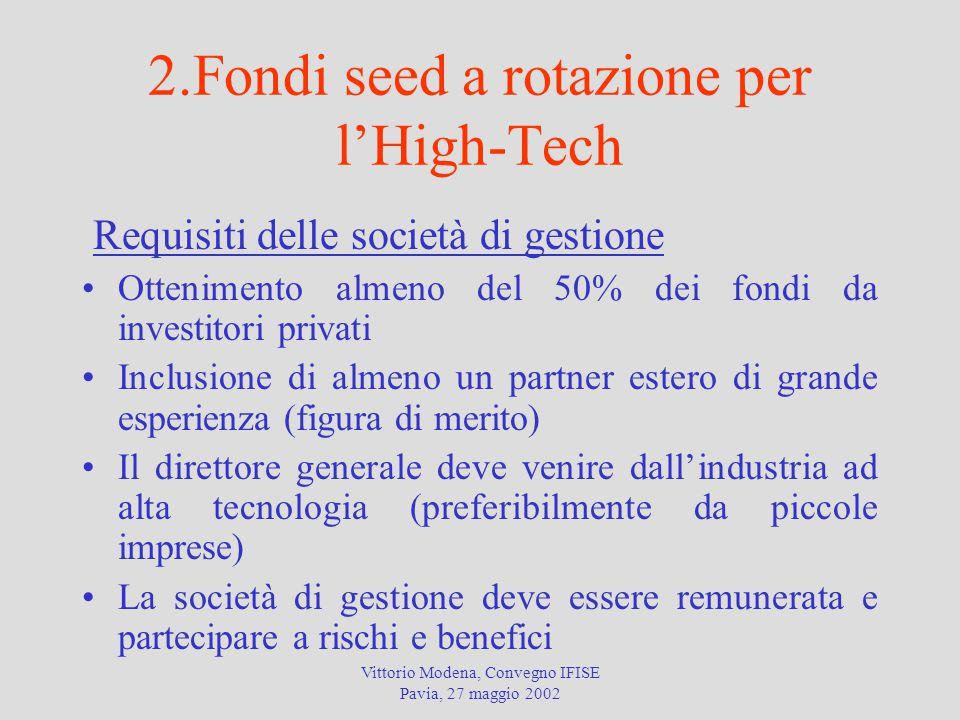 2.Fondi seed a rotazione per l'High-Tech