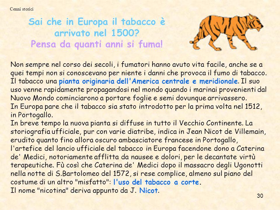 Sai che in Europa il tabacco è arrivato nel 1500