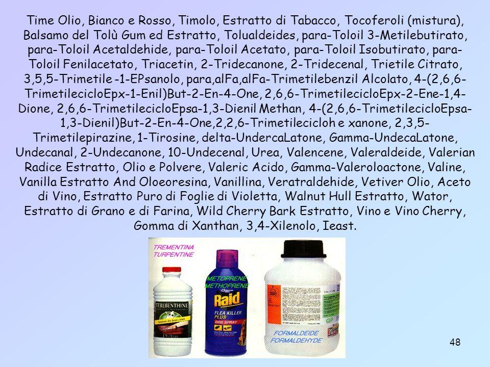 Time Olio, Bianco e Rosso, Timolo, Estratto di Tabacco, Tocoferoli (mistura), Balsamo del Tolù Gum ed Estratto, Tolualdeides, para-Toloil 3-Metilebutirato, para-Toloil Acetaldehide, para-Toloil Acetato, para-Toloil Isobutirato, para-Toloil Fenilacetato, Triacetin, 2-Tridecanone, 2-Tridecenal, Trietile Citrato, 3,5,5-Trimetile -1-EPsanolo, para,alFa,alFa-Trimetilebenzil Alcolato, 4-(2,6,6-TrimetilecicloEpx-1-Enil)But-2-En-4-One, 2,6,6-TrimetilecicloEpx-2-Ene-1,4-Dione, 2,6,6-TrimetilecicloEpsa-1,3-Dienil Methan, 4-(2,6,6-TrimetilecicloEpsa-1,3-Dienil)But-2-En-4-One,2,2,6-Trimetilecicloh e xanone, 2,3,5-Trimetilepirazine, 1-Tirosine, delta-UndercaLatone, Gamma-UndecaLatone, Undecanal, 2-Undecanone, 10-Undecenal, Urea, Valencene, Valeraldeide, Valerian Radice Estratto, Olio e Polvere, Valeric Acido, Gamma-Valeroloactone, Valine, Vanilla Estratto And Oloeoresina, Vanillina, Veratraldehide, Vetiver Olio, Aceto di Vino, Estratto Puro di Foglie di Violetta, Walnut Hull Estratto, Wator, Estratto di Grano e di Farina, Wild Cherry Bark Estratto, Vino e Vino Cherry, Gomma di Xanthan, 3,4-Xilenolo, Ieast.