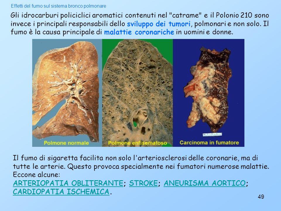 Effetti del fumo sul sistema bronco polmonare