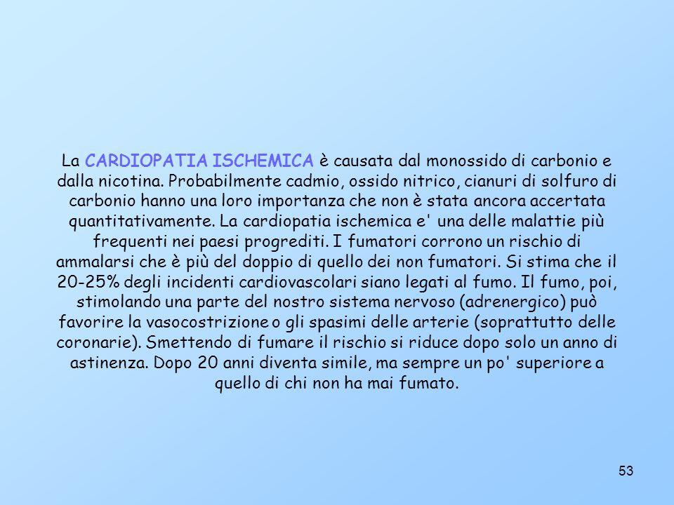 La CARDIOPATIA ISCHEMICA è causata dal monossido di carbonio e dalla nicotina.