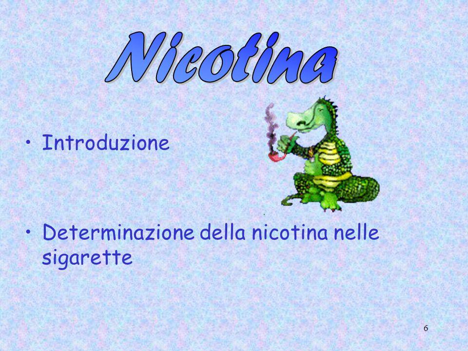 Nicotina Introduzione Determinazione della nicotina nelle sigarette